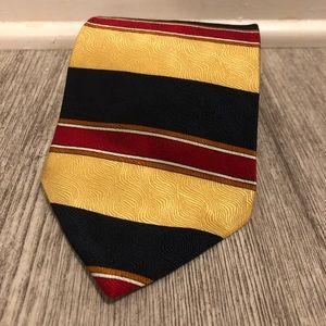 Oscar De La Renta Blue, Gold, Red Striped Silk Tie